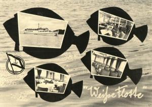 Ansichtskarte, Stralsund, vier Abb., gestaltet, Weiße Flotte, 1961