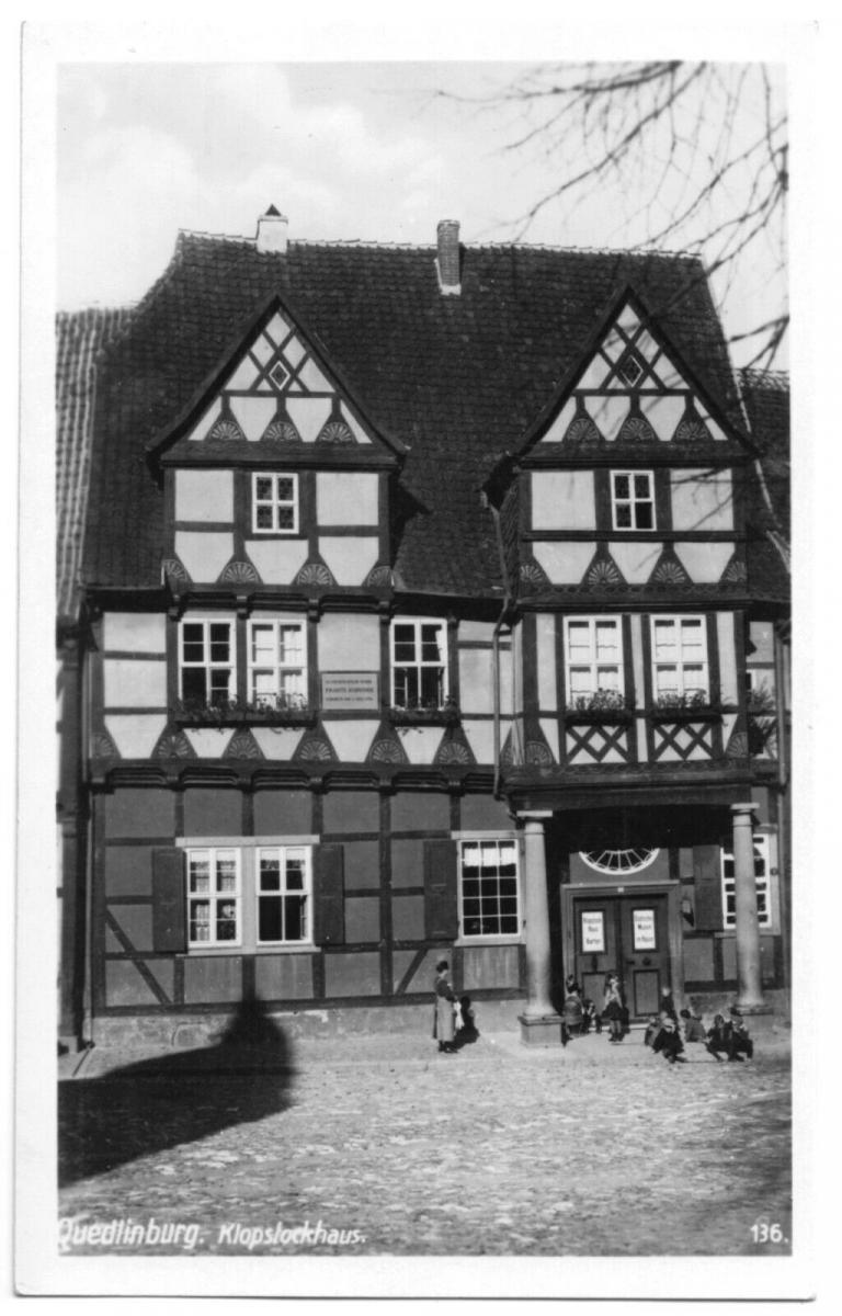 Ansichtskarte, Quedlinburg a. Harz, Klopstockhaus, um 1936 0