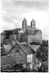 Ansichtskarte, Quedlinburg, Teilansicht mit Schloß, 1961