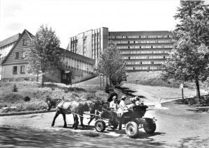 Ansichtskarte, Kurort Oberwiesenthal, Heim und Pferdekutsche, 1982
