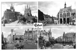 Ansichtskarte, Erfurt, vier innerstädtische Ansichten, 1956