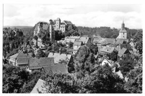 Ansichtskarte, Hohnstein Sächs. Schweiz, Blick über den Ort zur Burg, 1969