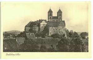 Ansichtskarte, Quedlinburg am Harz, Blick zum Schloß, 1955