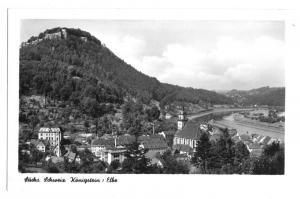 Ansichtskarte, Königstein Elbe, Ortsansicht mit Blick zur Festung, 1956