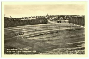 Ansichtskarte, Masserberg Thür. Wald, Gesamtansicht vom Schmiedeberger Kopf, 1959