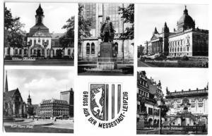 Ansichtskarte, Leipzig, fünf Abb. mit Stadtwappen, 1956