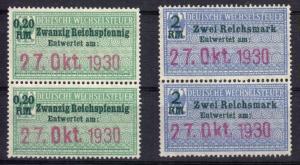Vier Fiskalmarken, Deutsche Wechselsteuer, 1930