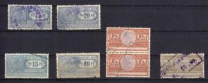Sieben Fiskalmarken, Deutsches Reich, Frachtstempel, um 1920?