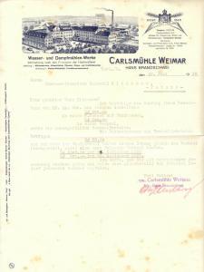 Illustrierter Brief, Fa. Carlsmühle Weimar  Hans Brandschwei, 29.06.1938