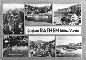 Ansichtskarte, Kurort Rathen Sächs. Schweiz, sechs Abb., gestaltet, 1968