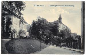 Ansichtskarte, Rudolstadt, Weinbergstr. und Heidecksburg, um 1910