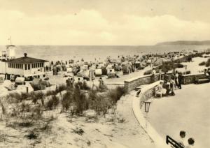 Ansichtskarte, Baabe Rügen, Strandpartie belebt, Version 1, 1962