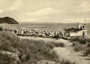 Ansichtskarte, Baabe Rügen, Strandpartie belebt, Version 2, 1962