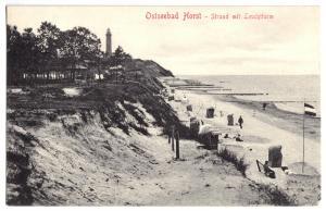 Ansichtskarte, Seebad Horst, Niechorze, Strand belebt mit Leuchtturm, 1907