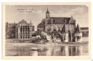 Ansichtskarte, Marienburg Westpr., Malbork, Schloß, Westseite, 1917