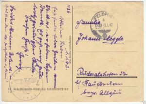 Feldpostkarte II. WK, Dienststelle 13147, o Feldpost 000-3.1.42