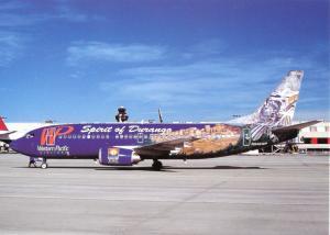 Ansichtskarte, Flugzeug Boeing B-737-300 der Western Pacific Airlines in Atlanta, 1997