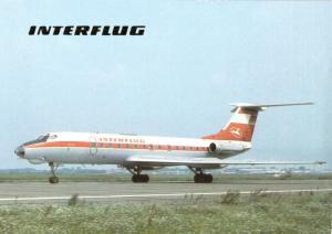 Ansichtskarte, Fugverkehr, Interflug, TU 134 auf dem Rollfeld, 1990
