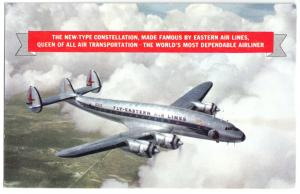 Ansichtskarte, Flugzeug Lockheed Constellation der Fly-Eastern Air Lines, um 1955