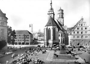 Ansichtskarte, Stuttgart, Schillerplatz mit Stiftskirche, 1970