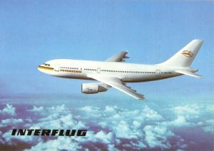 Ansichtskarte, Fugverkehr, Interflug, Airbus A310 im Fluge, Version 2, 1990