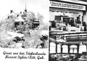 Ansichtskarte, Kurort Oybin, Gruß aus der Töpferbaude, drei Abb., 1968
