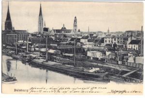 Ansichtskarte, Duisburg, Hafenpartie, Binnenschiffe, 1906