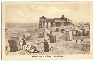 Ansichtskarte, Seebad Horst i. Pom., Niechorze, Strandleben, 1923