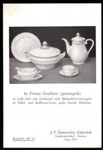 Werbeblatt, Firma J. F. Zumwinkel, Gütersloh für Ia Feston - Geschirr, um 1955