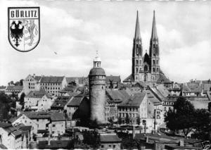 Ansichtskarte, Görlitz, Teilansicht mit Wappen, 1963
