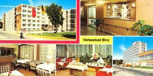 Ansichtskarte lang, Ostseebad Binz Rügen, FDGB-Heime, fünf Abb., 1982