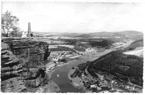 Ansichtskarte, Fels Lilienstein Sächs. Schweiz, Blick auf Elbe und Bad Schandau, 1963