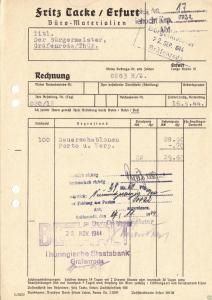 Rechnung, Fritz Tacke, Erfurt, Büro-Materialien, 16.9.44