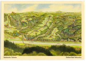 Ansichtskarte, Vogelschaukarte, Sächsische Schweiz, Gebiet Bad Schandau, 1956