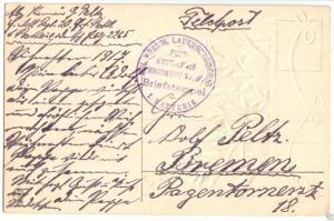 Feldpostbeleg, I. WK, Kgl. Preuss. Lauenburgisches Fuss-Artillerie-Rgt. 20
