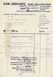 Rechnung, Fa. Karl Gebhardt, Büro-Organisation, Erfurt, 1943