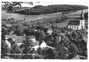 Ansichtskarte, Döschnitz Thür. Wald, Teilansicht, Landpoststempel, 1960