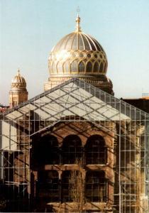 Ansichtskarte, Berlin Mitte, Neuen Synagoge Berlin, rückwärtige Fassade der Ruine, 1995