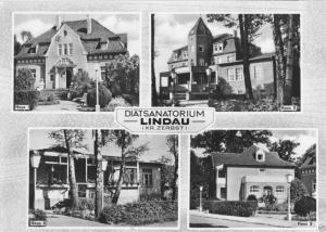 Ansichtskarte, Lindau Kr. Zerbst, Diät-Sanatorium, vier Abb., gestaltet, 1966