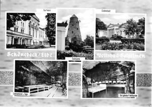 Ansichtskarte, Schönebeck Elbe, Volksbad Salzelmen, fünf Abb., gestaltet, 1966