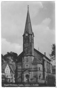 Ansichtskarte, Stadt Wehlen Sächs. Schweiz, Kirche, 1956
