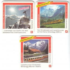 Drei Bierdeckel, Rugenbräu - Das Bier aus dem Berner Oberland, Bahn-Motive, 2000