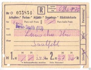 Fahrkarte, Deutsche Reichsbahn, Berlin Stadtb - Lauscha Ilm, 2.9.75
