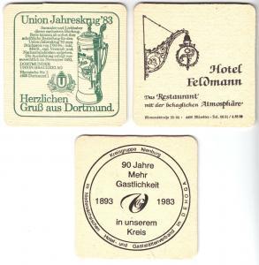 Drei Bierdeckel, Dortmunder Union, Siegel-Pils, verschiedene Anlässe, 1983