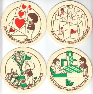 Vier Bierdeckel, VEB Kombinat Verpackung Leipzig, 1980er