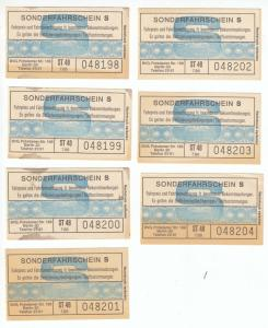 Sieben Fahrkarten, BVG Berlin, Sonderfahrschein S, 1980er?