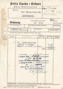 Rechnung, Fa. Fritz Tacke, Büro-Materialien, Erfurt, 1943