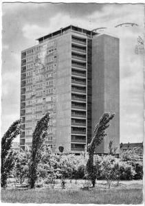 Ansichtskarte, Wolfsburg, Saarstr., Hochhaus mit Café, 1967