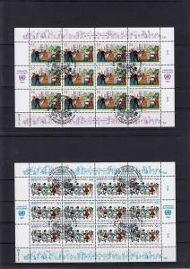 Michel-Nr. UNO Wien 75-76, Bogensatz, zwei Bg. a 12 Marken, o1400 Wien, 23.10.87