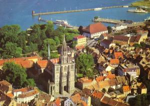Ansichtskarte, Konstanz am Bodensee, Teilansicht mit Hafen, Luftbild, um 1978